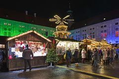Christmas Village at the Munich Residenz in night, Germany royalty free stock photo