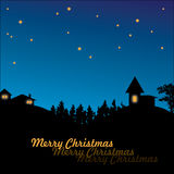 Christmas village in night. Blue christmas card. Village in the night with meny stars above. Space for text Stock Photo