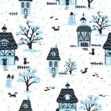 Christmas village pattern Royalty Free Stock Image