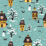 Christmas village pattern Royalty Free Stock Photos