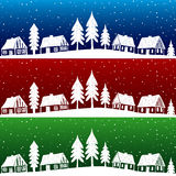 Christmas village with snow seamless pattern. Hand drawn illustration Stock Photography