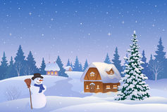 Christmas village and snowman Stock Images