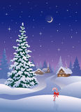 Christmas village vertical. Illustration of a beautiful snowy Christmas village and snow covered tree Stock Photo