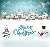 Christmas village. Winter village background with snow covered houses royalty free illustration