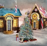 Christmas village. Winter christmas village with snow and christms tree Stock Images