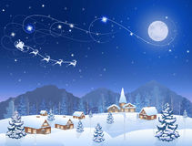Christmas village. Winter snowing village and christmas tree at night, santa claus in sleigh, mountains on the horizon, big moon in the starry sky, vector Royalty Free Stock Images