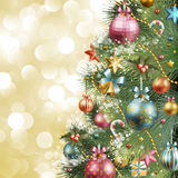 Christmas vintage background. With christmas tree and balls stock illustration