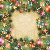 Christmas vintage background. With baubles and christmas tree. Vector frame with green fir Royalty Free Stock Photo