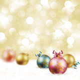 Christmas vintage background. With baubles on snow. Vector illustration Royalty Free Stock Photo