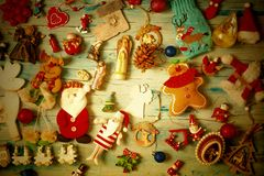 Christmas vintage background with decorations stock photos