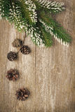 Christmas vintage background (with fir branches and cones). Close-up stock photo