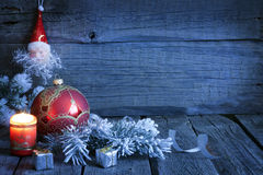 Christmas vintage background in night stock photo