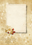 Christmas vintage background with old card Stock Photography