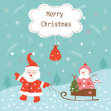 Christmas vintage background with Santa and snowman Stock Image