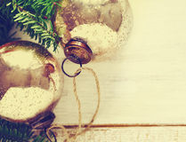 Christmas vintage balls with fir branches. Stock Photography