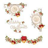 Christmas vintage banner with clock, garland and holly berries. stock illustration