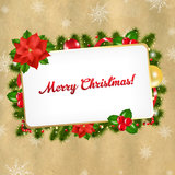 Christmas Vintage Blank Gift Tag. With Gradient Mesh, Vector Illustration Stock Image