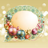 Christmas vintage bubble. With baubles and place for text. Vector illustration Stock Image