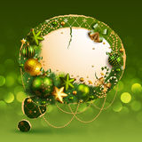 Christmas vintage bubble. With baubles and place for text. Vector illustration Stock Images