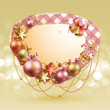 Christmas vintage bubble. With baubles and place for text. Vector illustration Royalty Free Stock Photo