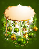 Christmas vintage bubble. With baubles and place for text. Vector illustration Royalty Free Stock Photography