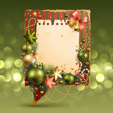 Christmas vintage bubble with baubles. And place for text. Vector illustration Royalty Free Stock Image