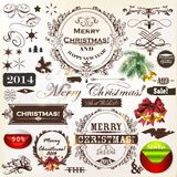 Christmas vintage calligraphic elements and page decorations Stock Images