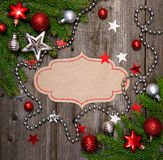 Christmas vintage card. With baubles on wood texture royalty free stock photography