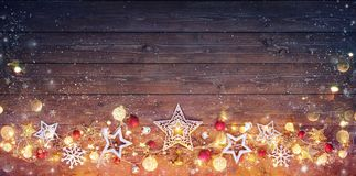 Christmas Vintage Card - Decoration And Lights. On Dark Table stock photography