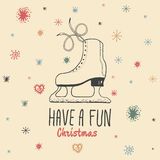 Christmas vintage card with with hand drawn ice skates and text 'Have a Fun Christmas' Royalty Free Stock Image