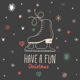 Christmas vintage card with with hand drawn ice skates and text 'Have a Fun Christmas' Stock Image