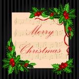 Christmas vintage card with holly. Stock Photos