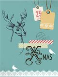 Christmas vintage card, retro concept with deer Stock Photos