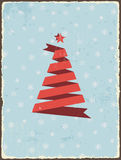 Christmas vintage card with ribbon tree. Vector Stock Photography