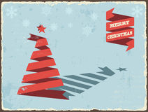 Christmas vintage card with ribbon tree. Vector Stock Image