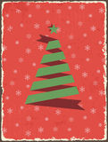 Christmas vintage card with ribbon tree. Vector Stock Images