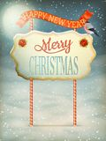 Christmas Vintage card with Signboard. EPS 10 Royalty Free Stock Photos
