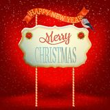 Christmas Vintage card with Signboard. EPS 10 Stock Photos