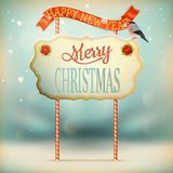 Christmas Vintage card with Signboard. EPS 10 Royalty Free Stock Photography