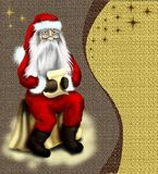 Christmas vintage card with starr or background wi. Th Santa Claus who read a letter from the children Royalty Free Stock Photo