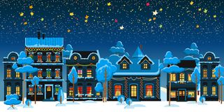 Christmas vintage card with the urban landscape. And snowfall. Detailed vector picture Royalty Free Stock Photography