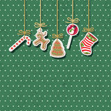 Christmas vintage card. Vector illustration Stock Photos