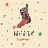 Christmas Vintage Card With With Hand Drawn Knitted Sock And Text  Have A Cosy Christmas