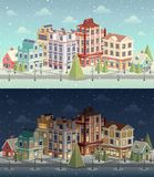 Christmas vintage cityscape and snowfall. Stock Photography