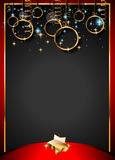 Christmas Vintage Classic Background with balls and star lights. With a lot of space for text. Ideal  for outstanding greeting card or dinner invitations Royalty Free Stock Photography