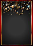 Christmas Vintage Classic Background with balls and star lights. With a lot of space for text. Ideal  for outstanding greeting card or dinner invitations Stock Photos