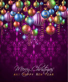 Christmas Vintage Classic Background with balls and star lights Stock Photography