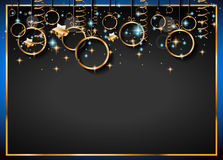 Christmas Vintage Classic Background with golden balls and star lights Stock Photo