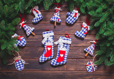 Christmas vintage decor. Blue gingham toys on the wooden table Stock Photography