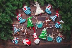 Christmas vintage decor. Blue gingham toys on the wooden table Royalty Free Stock Photo
